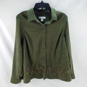 CJ Banks Green Fall Leaf Button Top Size 14W, X